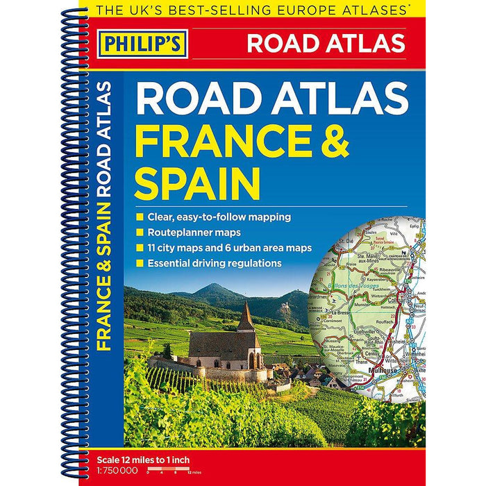 Philip's France and Spain Road Atlas: Spiral (Philips Road Atlas) - The Book Bundle