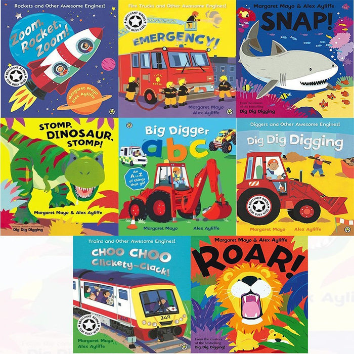 emergency, big digger abc, choo choo clickety-clack!, dig dig digging, roar!, snap!8 books collection set by margaret mayo - The Book Bundle