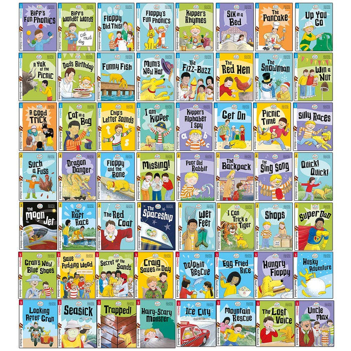 Biff, Chip and Kipper Stage 1-3 Read with Oxford: 56 Books Collection Set Pack - The Book Bundle