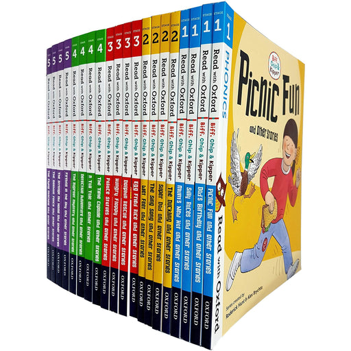 Read With Oxford Stage 1-5: Biff, Chip and Kipper Collection 20 Books Set - The Book Bundle