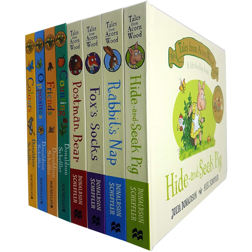 Julia Donaldson Tales from Acorn Wood series Collection 8 Books Set (Hide-and-Seek Pig, Rabbit's Nap, Fox's Socks, Postman Bear) - The Book Bundle
