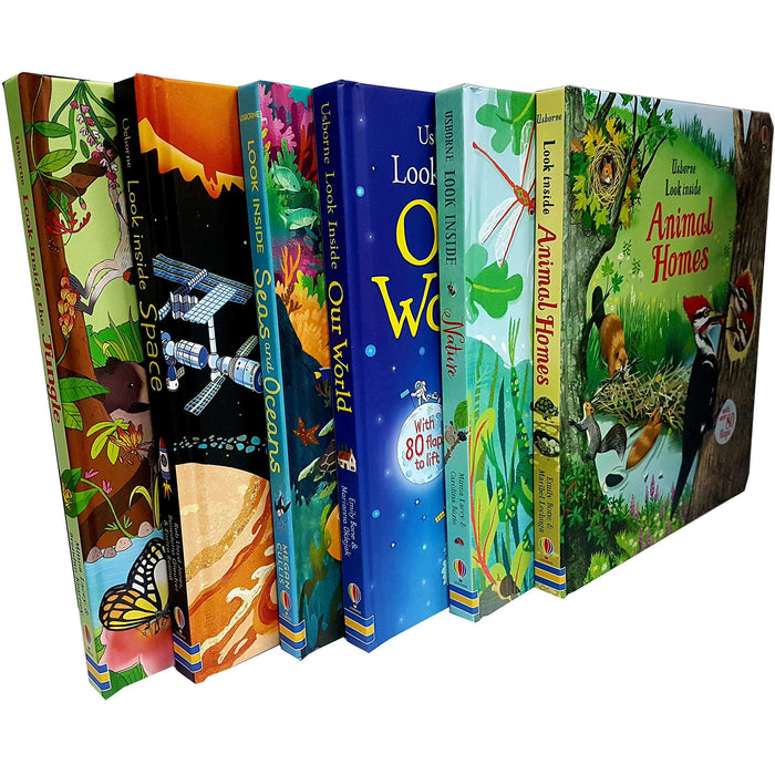 Usborne Look Inside Our world 6 Books Collection Pack Set ( Seas and Oceans, Nature,Our World,Animal Homes,Jungle,Space) - The Book Bundle
