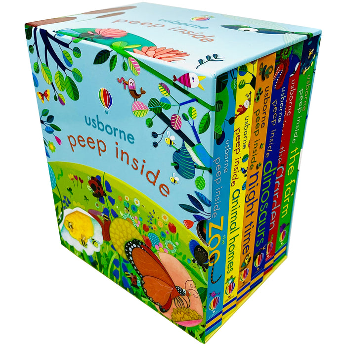 Peep Inside 6 Books Collection Box Set by Usborne (Zoo, Animal Homes, Night Time, Dinosaurs, Garden & Farm) - The Book Bundle