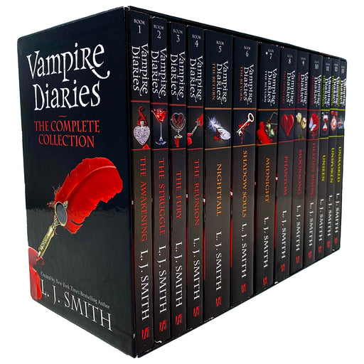 Vampire Diaries The Complete Collection Books 1 - 13 Box Set by L. J. Smith (The Awakening, Struggle, Fury, Reunion, Night Fall,Souls) - The Book Bundle