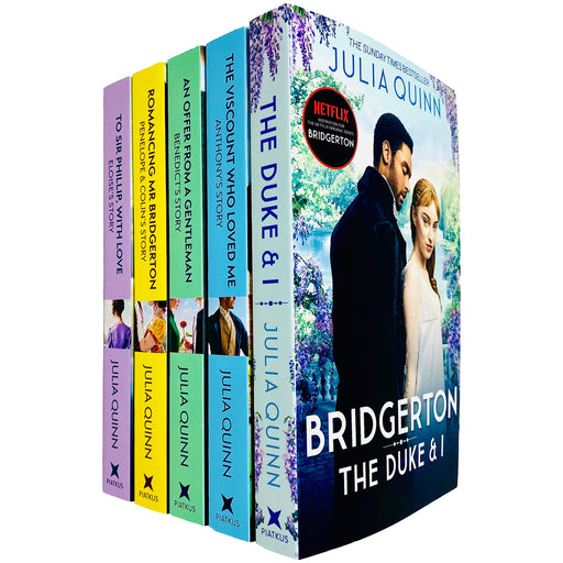 Bridgerton Family Book Series 5 Books Collection Set by Julia Quinn (The Duke and I, Viscount Who Loved Me, Offer From a Gentleman, Romancing Mister Bridgerton & Sir Phillip, With Love) - The Book Bundle