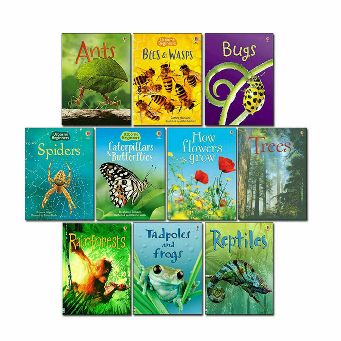 Usborne Beginners Nature 10 Books Set Reptiles, Spiders,Tree, Ants, Bugs - The Book Bundle