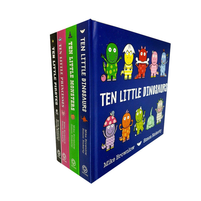 Mike Brownlow Ten Little Collection 4 Books Set (Dinosaurs, Monsters, Princesses & Pirates) - The Book Bundle