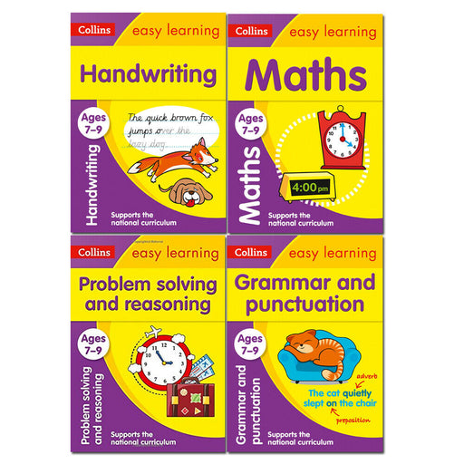 Ages 7-9 Collins Easy Learning KS2 Collection 4 Books Set Handwriting, Maths - The Book Bundle