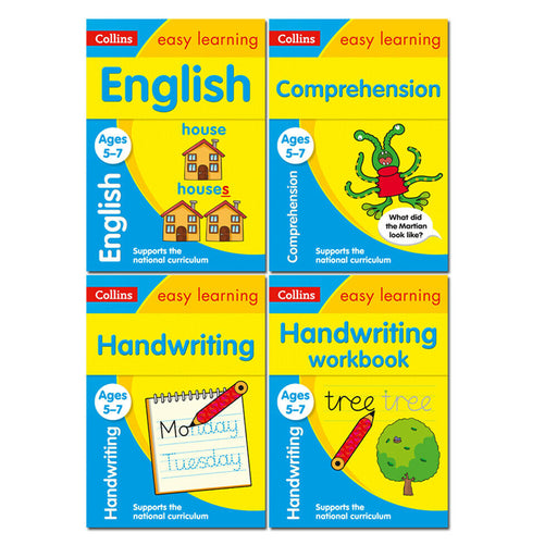 Collins Easy Learning KS1 Ages 5-7 Collection 4 Books Set English, Handwriting - The Book Bundle
