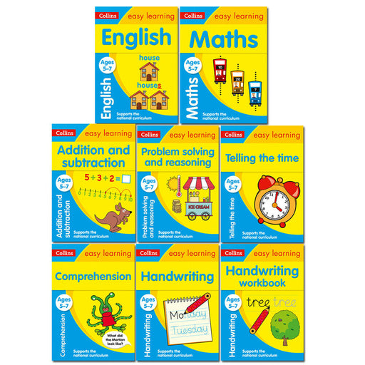 Collins Easy Learning KS1 Ages 5-7 Collection 8 Books Set Pack English, Maths - The Book Bundle