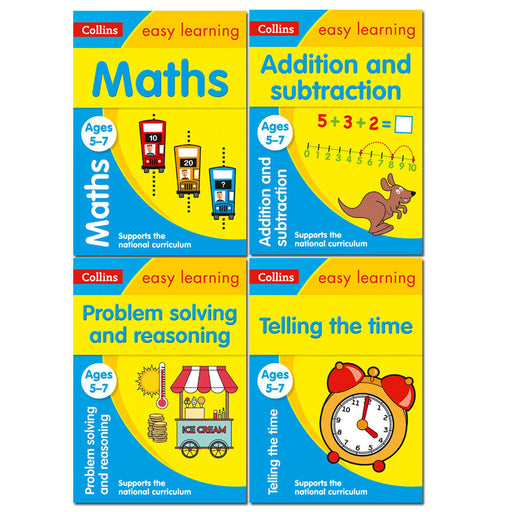 Ages 5-7 Collins Easy Learning KS1 Collection 4 Books Set Maths,Telling the Time - The Book Bundle