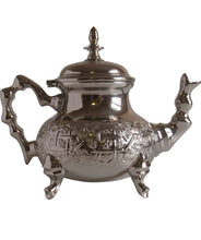 Load image into Gallery viewer, Vintage Styled Handmade Moorish Silver Plated Teapot with Built In Tea Infuser Filter