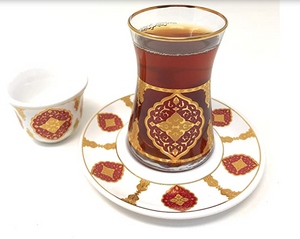 Traditional Moorish Tea Glasses and Saucers Set