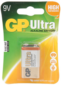 GP Ultra PP3 9V Alkaline Battery (1-Pack)