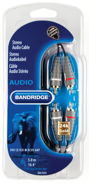 Bandridge 2x Phono (Male) to 2x Phono (Male) 5.0m