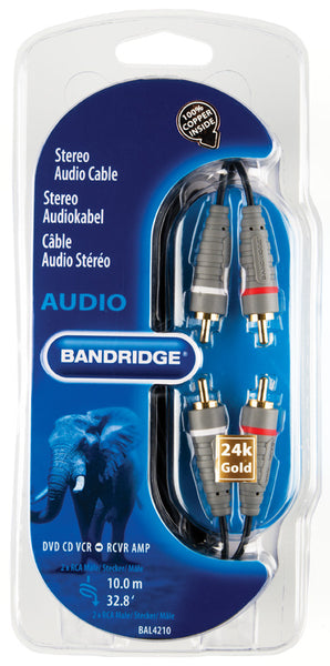 Bandridge 2x Phono (Male) to 2x Phono (Male) 10.0m
