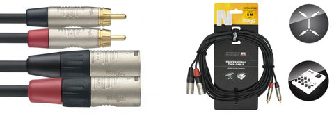 Stagg NTC6CMXMR 2x Phono to 2x Male XLR 6m