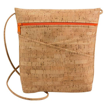 Cork Criss-Cross Pocket Cross Body  Bag