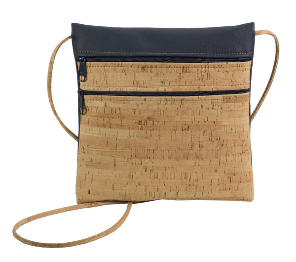 Cork Double Zipper Cross Body Bag