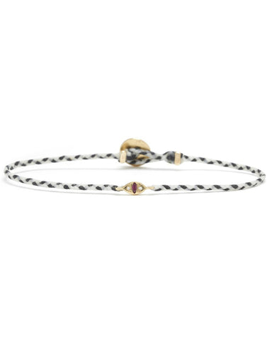 CAT EYE SIGNATURE BRACELET - White / Black & Ruby