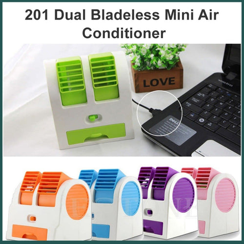 0201  Dual Bladeless Mini Air Conditioner - DeoDap