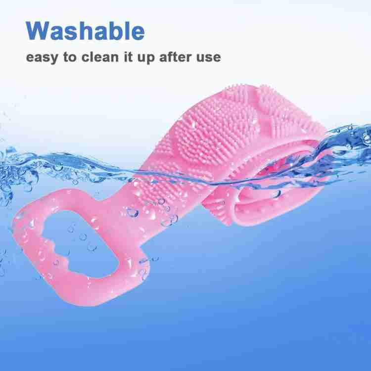 1302 Silicone Body Back Scrubber Double Side Bathing Brush for Skin Deep Cleaning - DeoDap