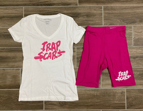 Pink Splash - Female Tee & Biker Shorts