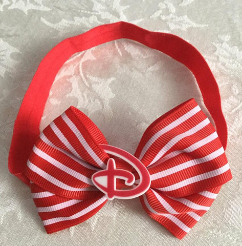 Red & White Striped Disney D Headband Bow