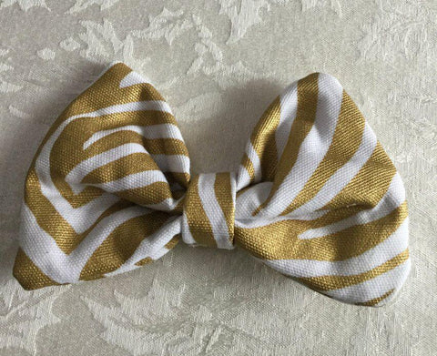 White & Gold Zebra Print Hair Bow