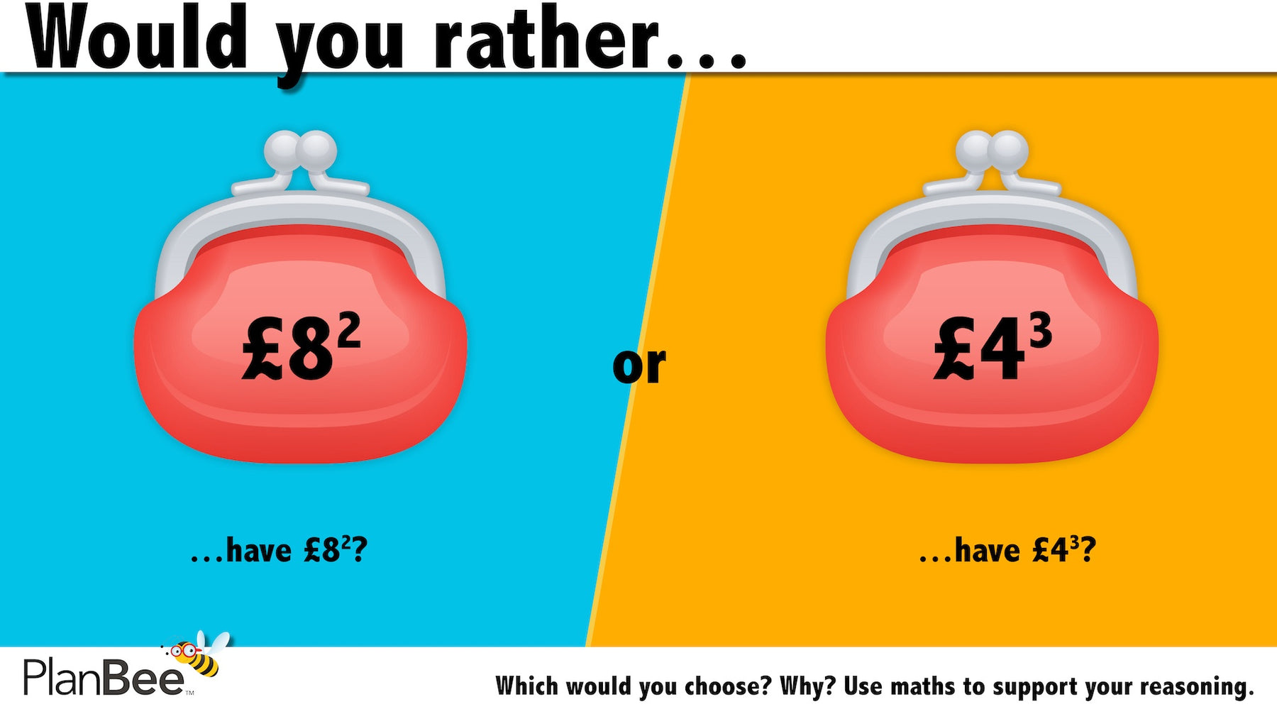 Would you rather…? Maths reasoning questions № 3