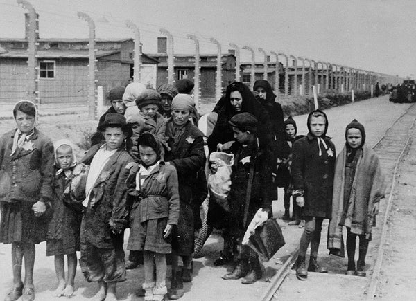 Mothers and their children walking to the gas chambers at Auschwitz concentration camp