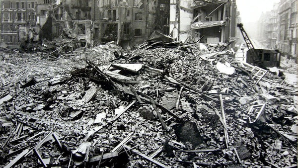 Damage in Westminster, London caused by the Blitz