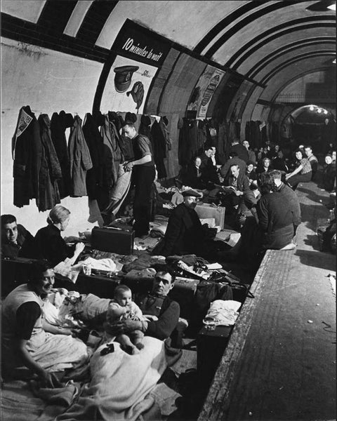Families stay safe during an air raid in London Underground