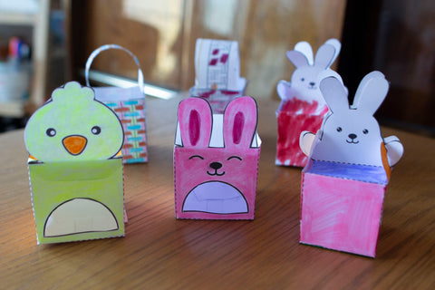 Easter baskets and boxes paper crafts