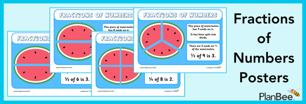 Free Fractions of Numbers Posters by PlanBee