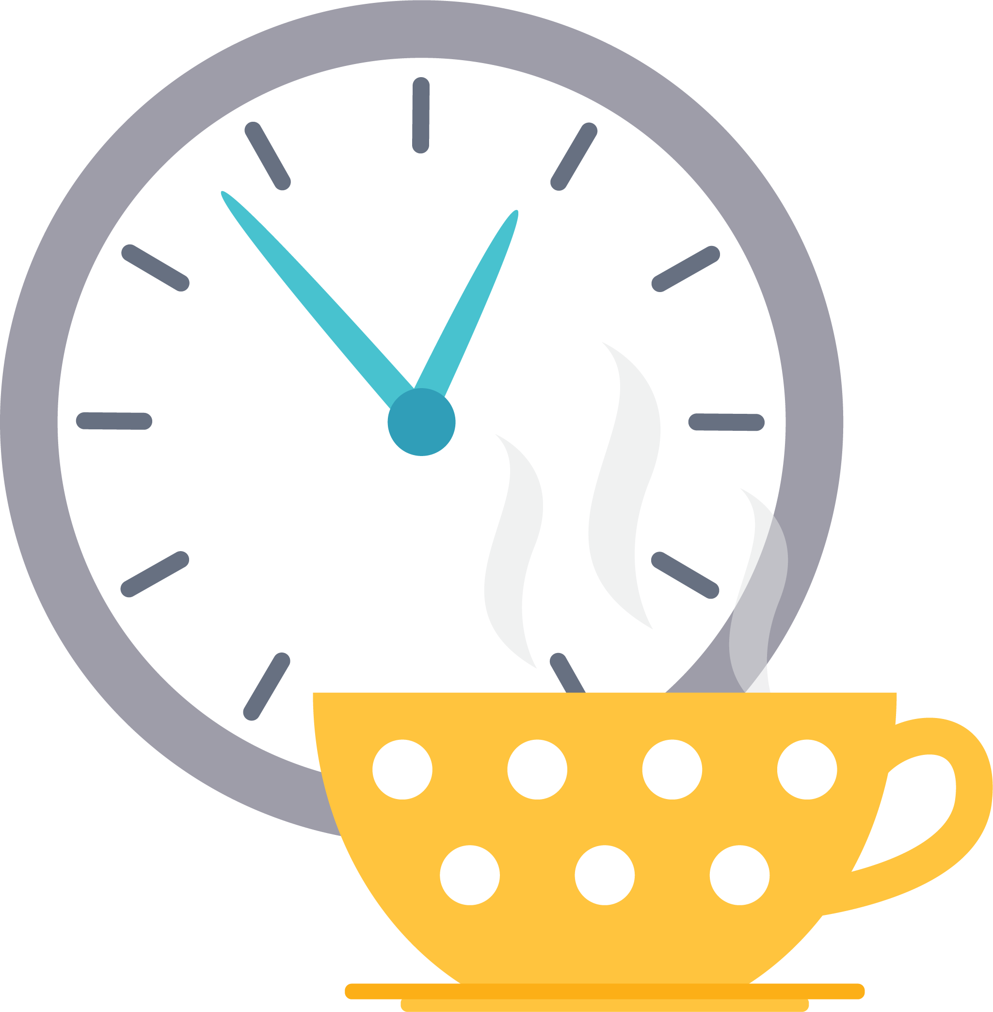 A clock and a cup of tea