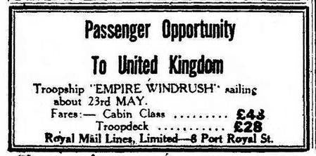 A newspaper advertisement offering a passenger opportunity from Jamaica to the UK on the ship, HMT Empire Windrush