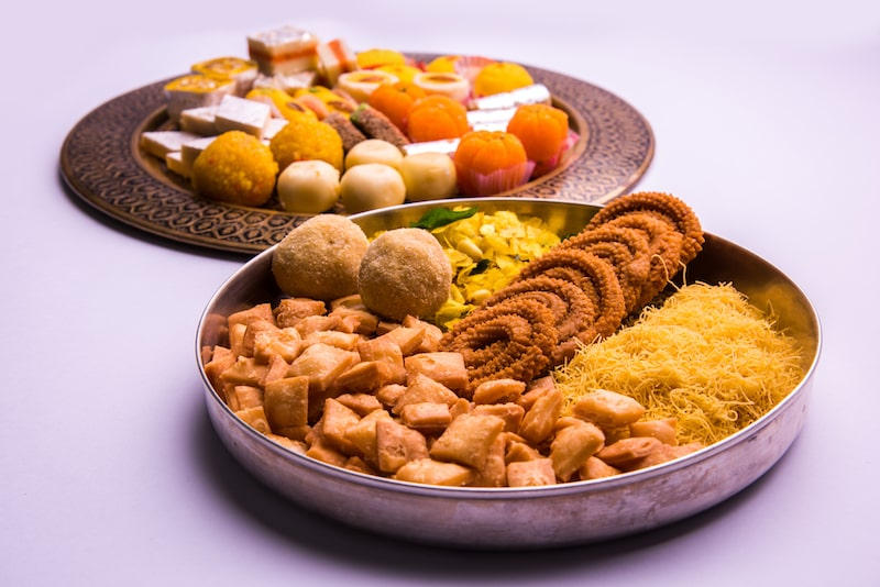 A selection of traditional foods eaten during Diwali