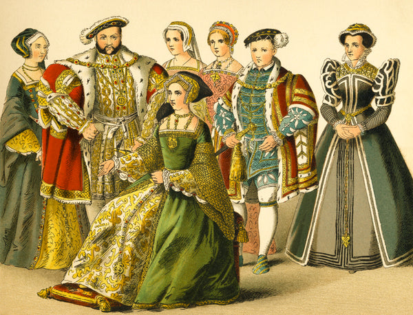 King Henry VIII standing with the members of his court