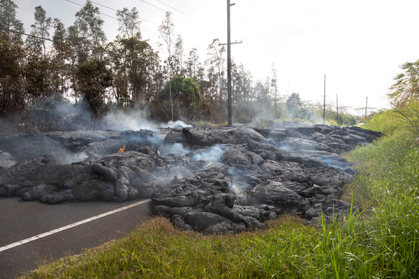 Facts about Volcanoes - lava on the road