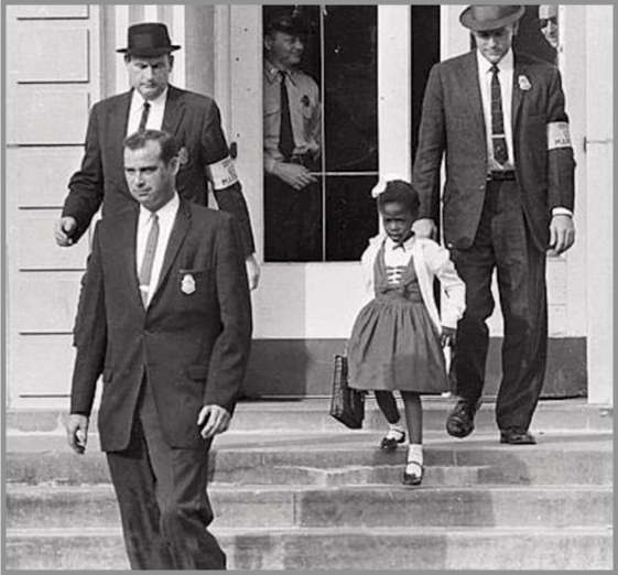 Ruby Bridges leaving school with guards