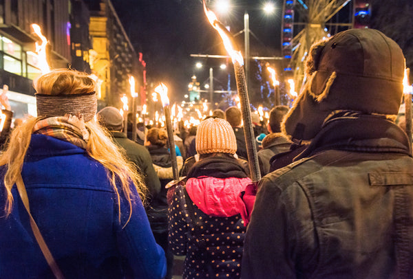 A 'Hogmanay' torch-lit parade in Edinburgh, Scotland.