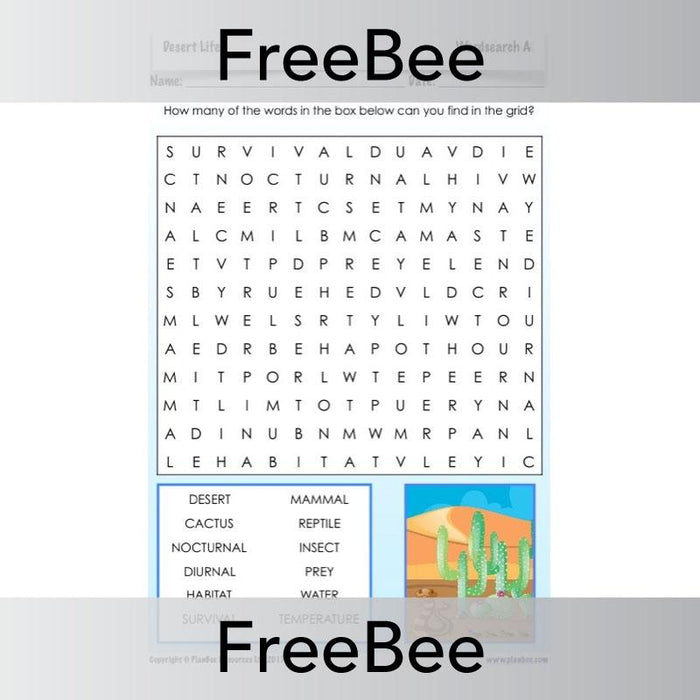 PlanBee Desert Life Word Search | PlanBee