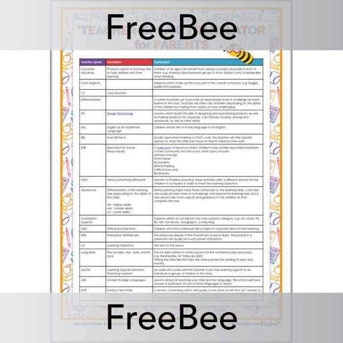 PlanBee Teacher Translator | Free PDF Handout