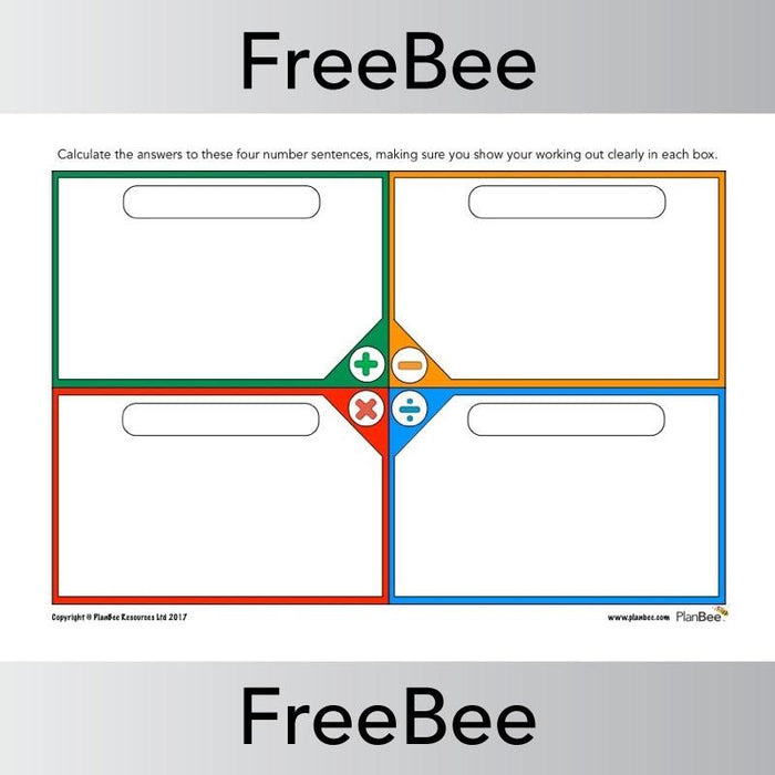 PlanBee Four Operations Grid | Free Maths Teaching Resources