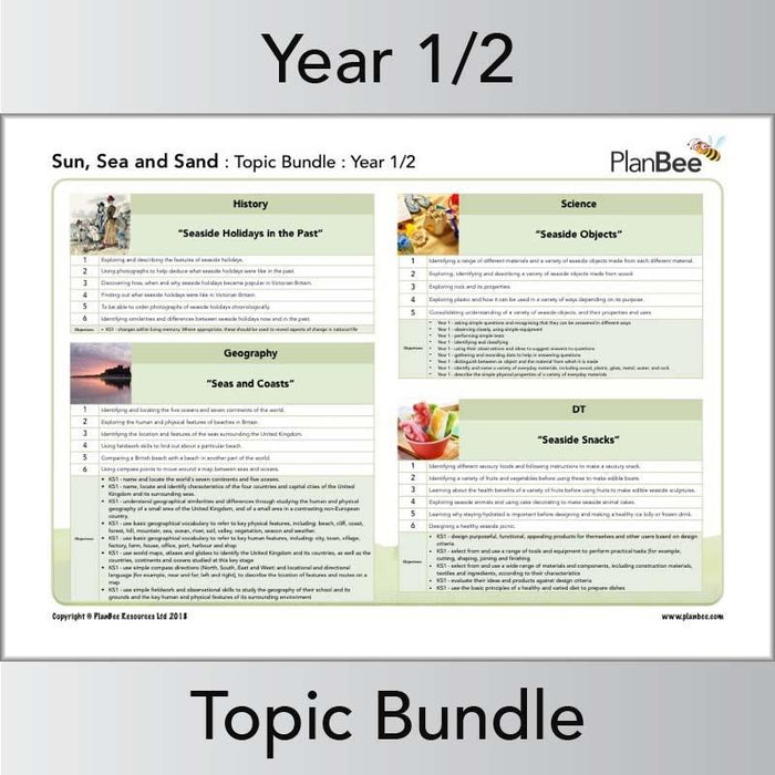 PlanBee Sun, Sea & Sand Topic - Year 1 & Year 2 Primary Topic Planning for KS1