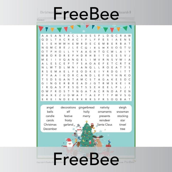 PlanBee Free Christmas word searches for children | PlanBee