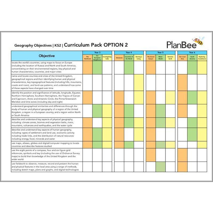 PlanBee KS2 Geography Curriculum Pack (Option 2) | Long Term Planning
