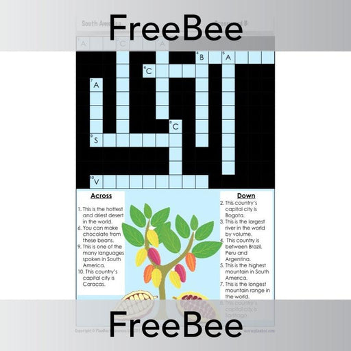 PlanBee FREE South American Countries Crosswords