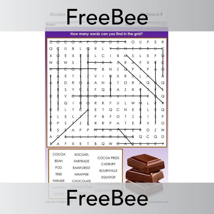 PlanBee Free Wordsearch | Chocolate | KS2
